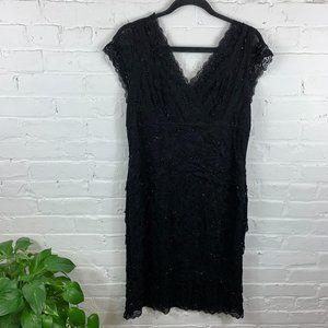 Marina Sleeveless V-Neck Lace Dress Black Size 16